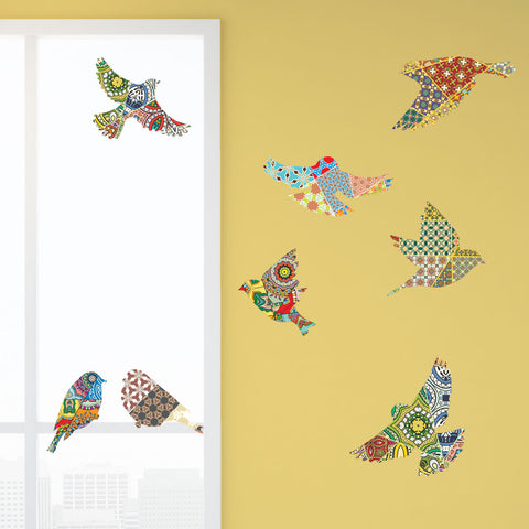 Bird Decals for Walls and Windows - Patchwork Pattern