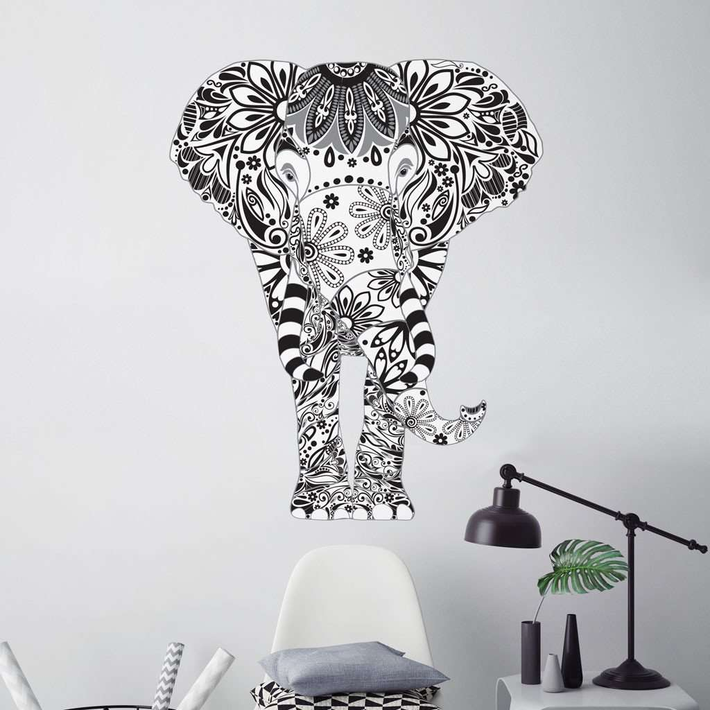 Black And Grey Elephant Wall Decal - Elephant wall decals