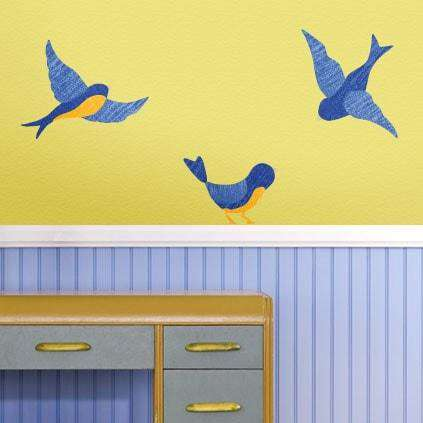Giant Blue Bird Wall Stickers