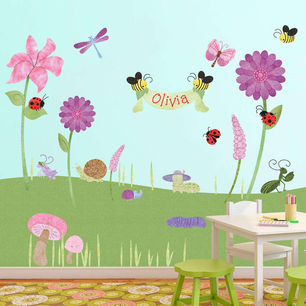 Bugs blossoms wall mural sticker kit my wonderful walls bugs and flower stickers decals amipublicfo Images