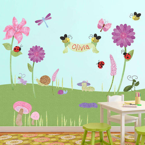 bugs and flower stickers decals