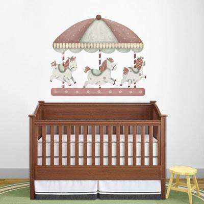 Carousel wall sticker decals for baby nursery wall mural for Carousel wall mural