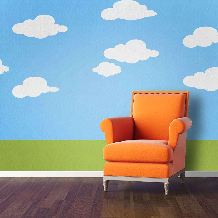 Wall mural stencil kits my wonderful walls simply clouds wall stencil kit amipublicfo Images