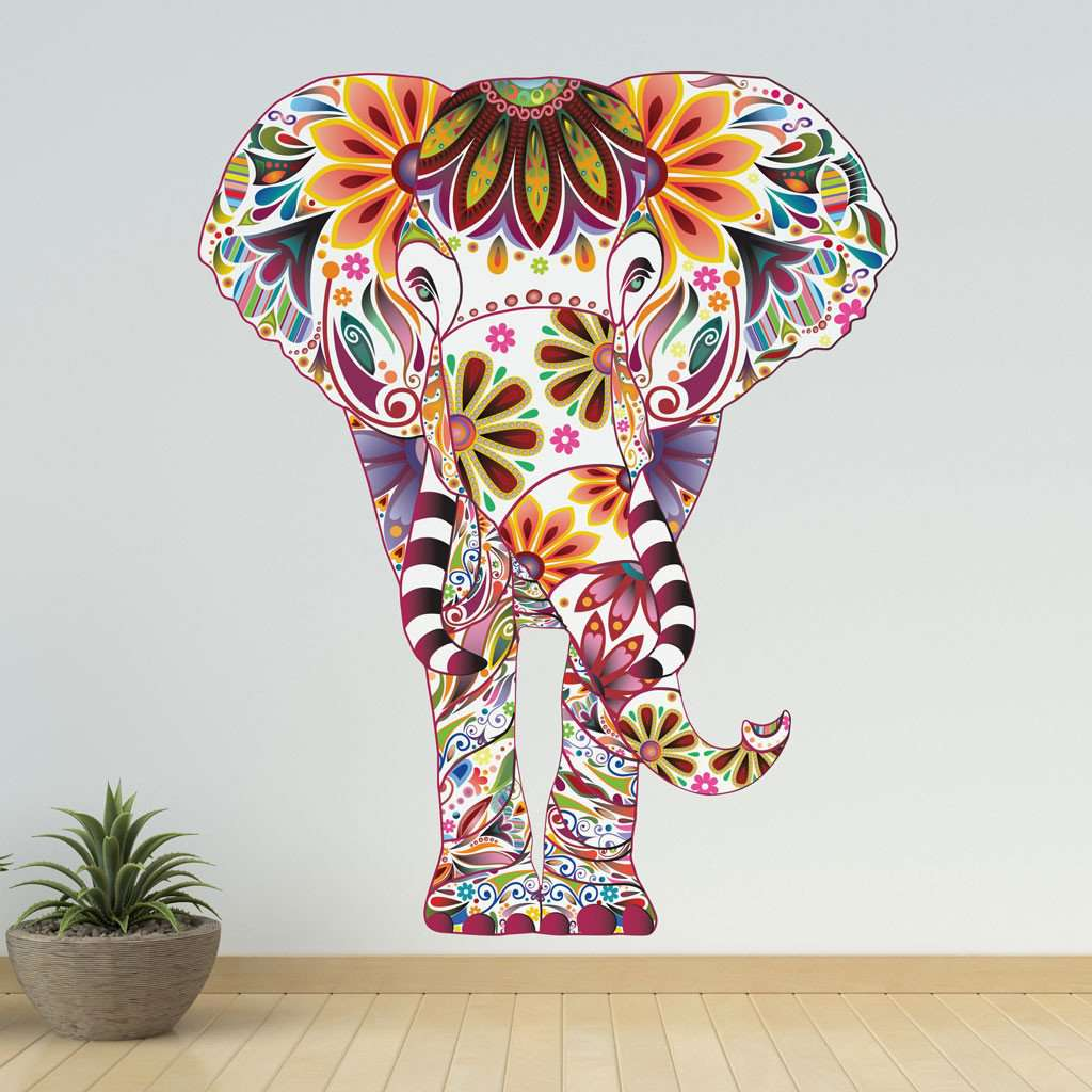 Large Elephant Wall Sticker Colorful Elephant Wall Decal