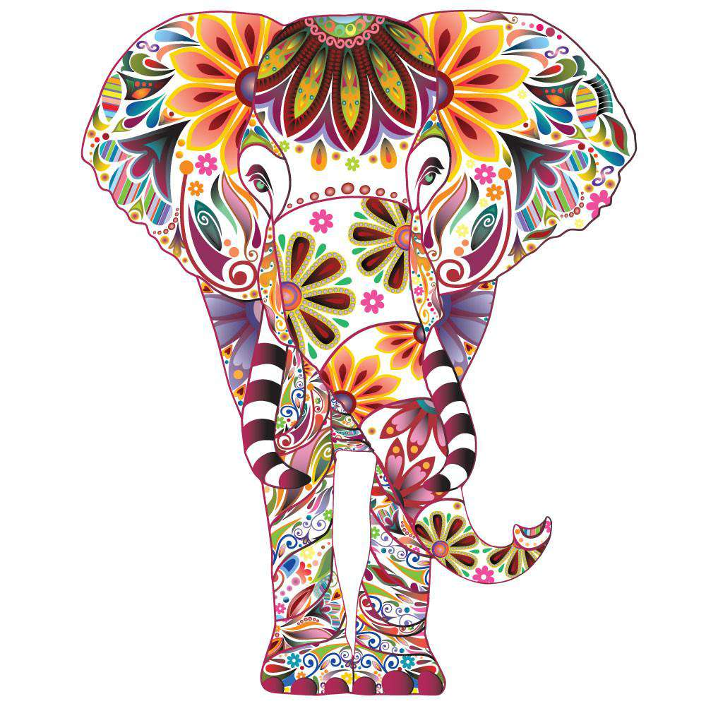 - Large Elephant Wall Sticker Colorful Elephant Wall Decal
