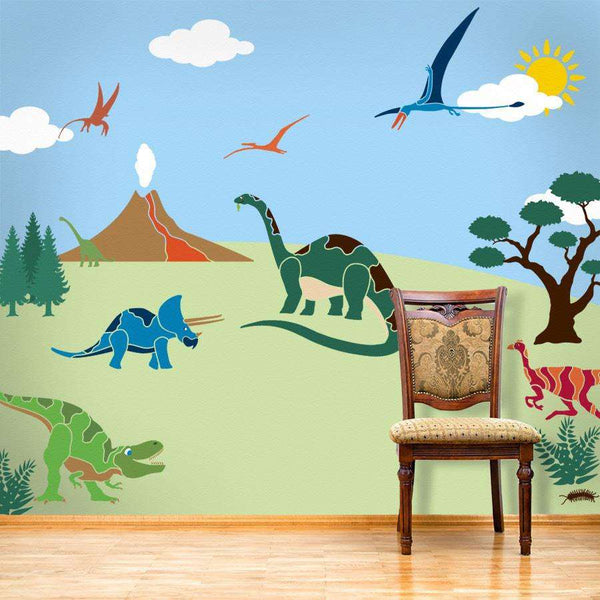 Dinosaur wall stencil kit dinosaur stencil wall mural kit for Disney wall stencils for painting kids rooms