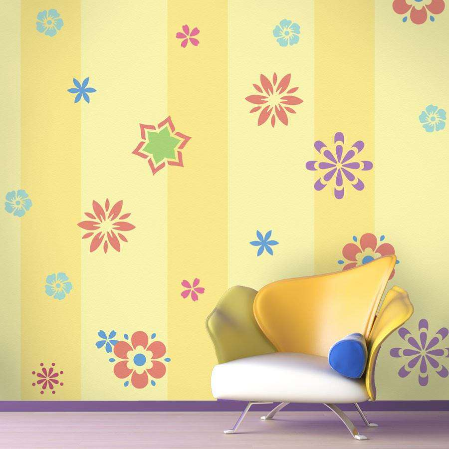 fabulous flower wall stencil kit girls room flower wall mural flower stencil