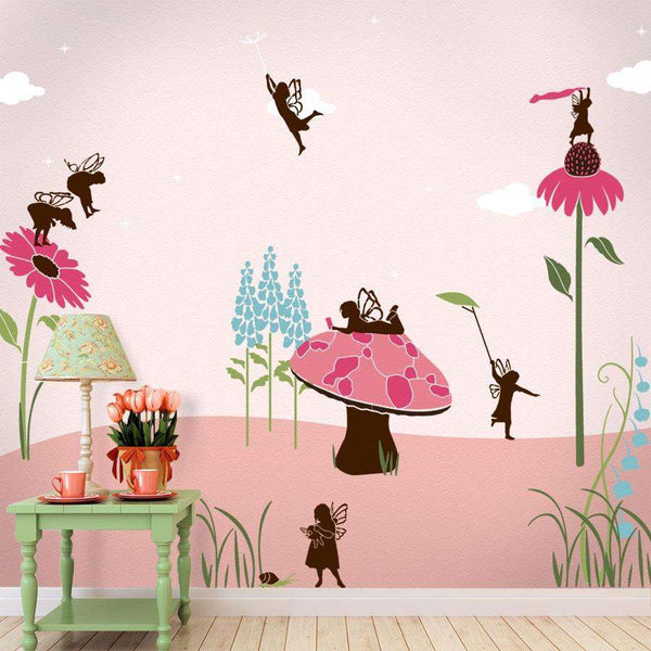 fairy wall stencil kit for a girls room fairy theme wall mural. Black Bedroom Furniture Sets. Home Design Ideas