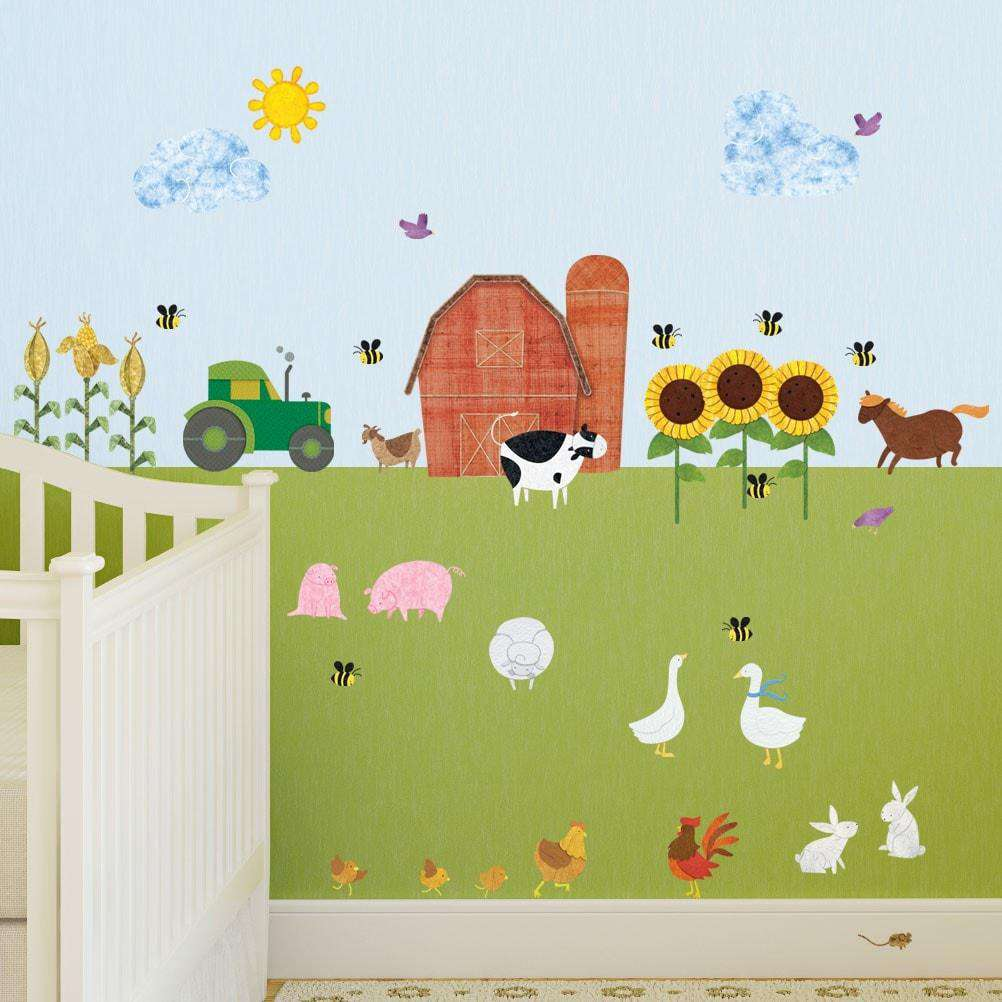 Farm wall decals peel stick farm theme wall mural for Barnyard wall mural