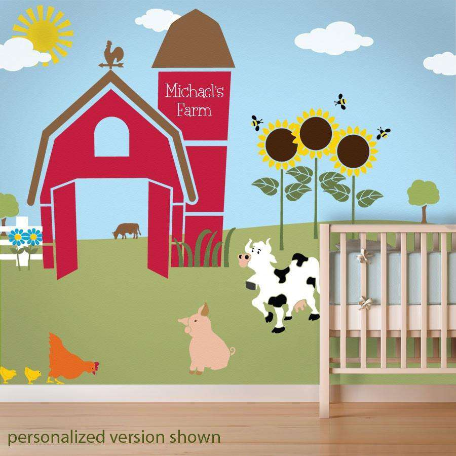 Farm Wall Art farm theme nursery murals - baby nursery murals - farm theme nursery