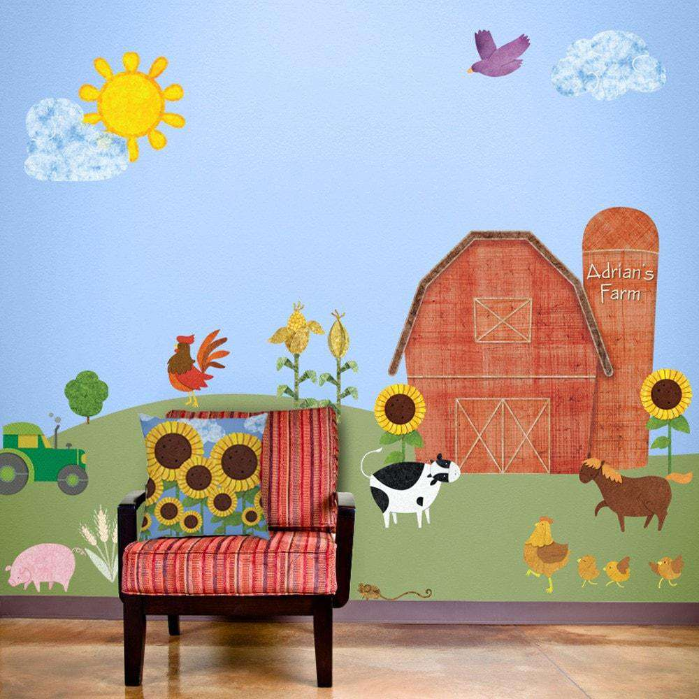 Farm stencils stickers and coordinating home decor for children friendly farm wall decal sticker kit jumbo set amipublicfo Image collections