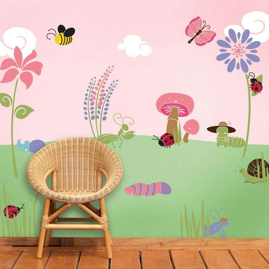 Wall mural stencil kits my wonderful walls bugs and blossoms wall mural stencil kit amipublicfo Images