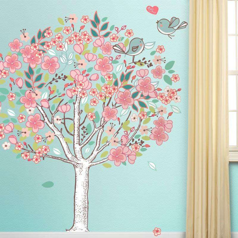 Spring Love Tree Wall Mural Sticker Kit