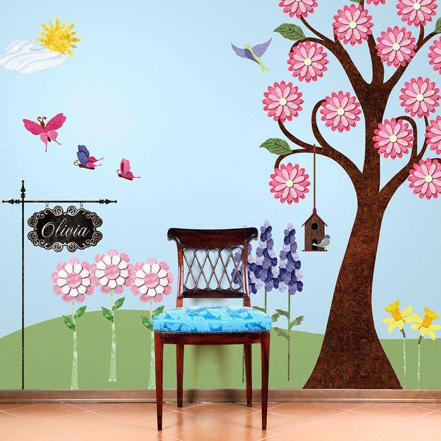 Splendid Flower Garden Wall Decal Sticker Kit   JUMBO SET