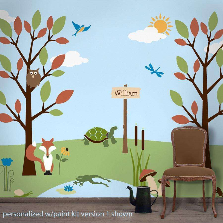 Wall mural stencil kits my wonderful walls forest friends wall stencil kit for kids rooms amipublicfo Images