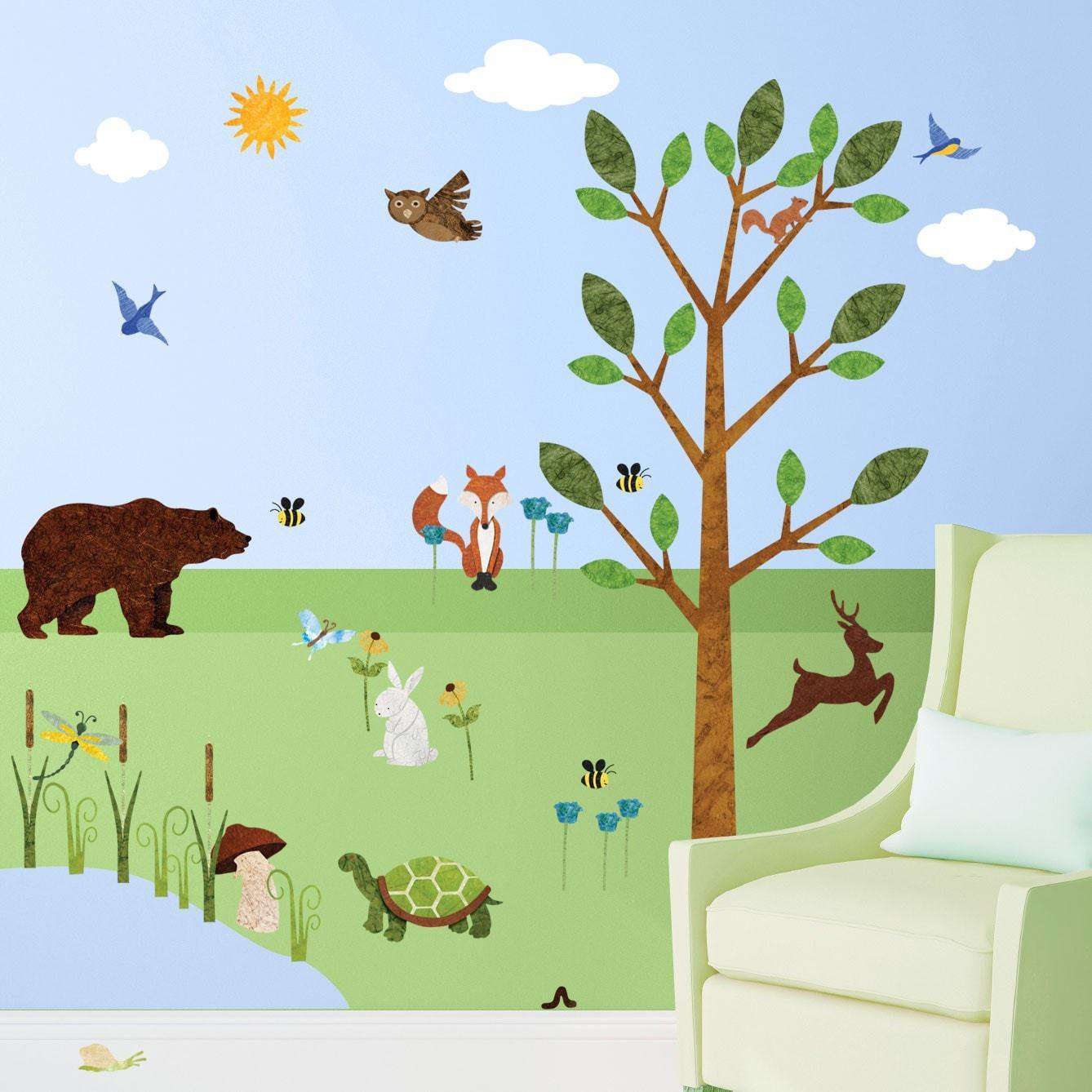 forest friends wall mural stickers decals free personalization forest wall sticker set 37 peel stick woodland decals for nursery and kids mini set