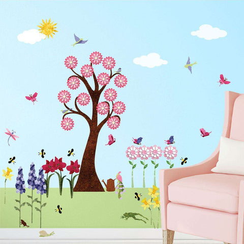 Flower Wall Decals for Girls Room – Peel & Stick Flower Stickers & Large Tree Decal
