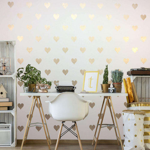 gold heart wall stencil