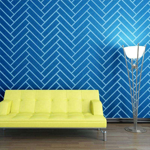 Herringbone Pattern Wall Stencil - Self-Adhesive