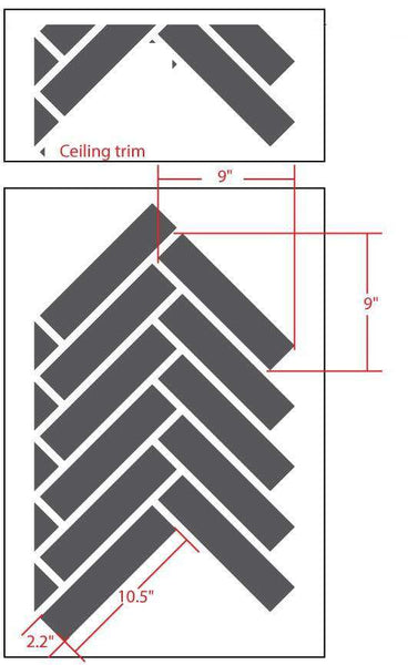 Herringbone Pattern Wall Stencil Self Adhesive