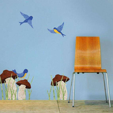 Mushrooms and Birds Wall Stickers