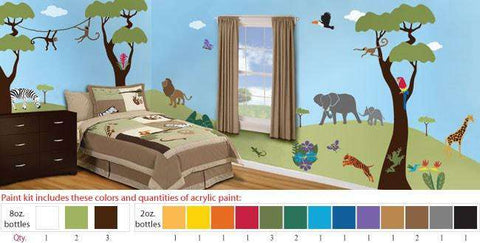 Wild Jungle Safari Stencil Paint Kit