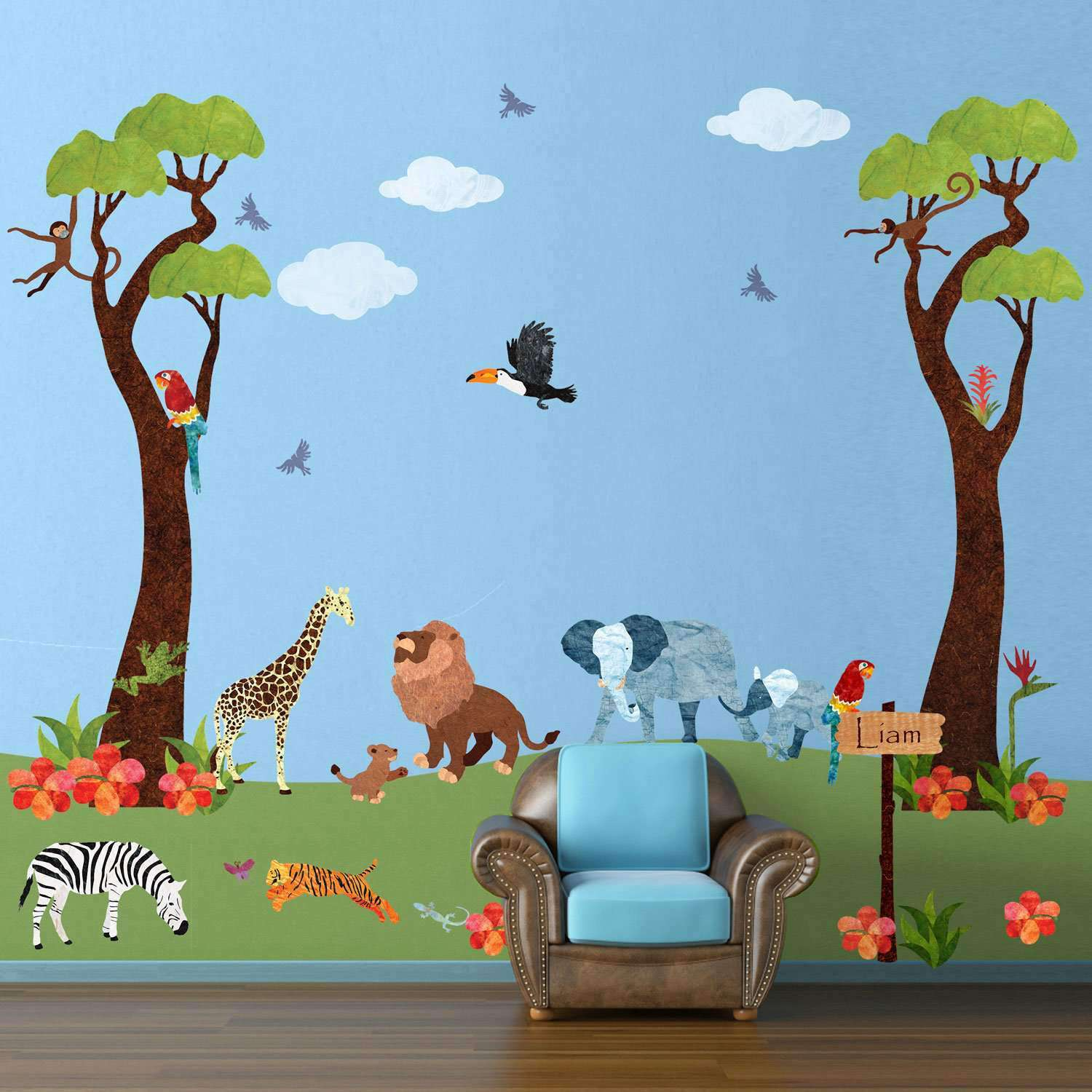 66445e6f3dfd6 Jungle Safari Wall Decal Sticker Kit - JUMBO SET ...