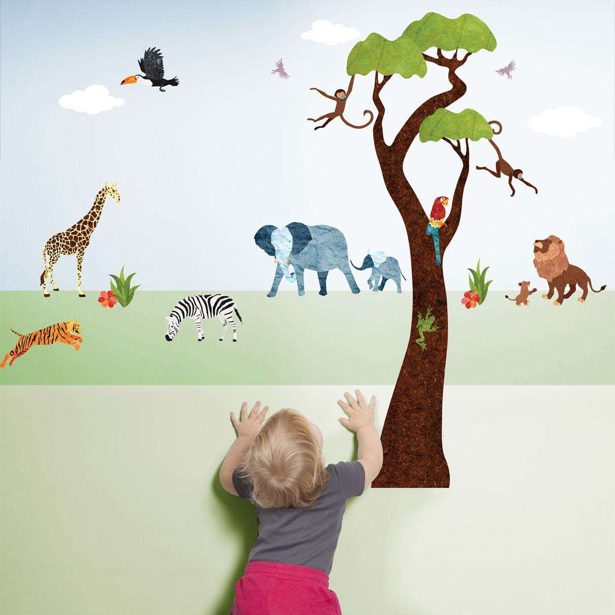 Jungle Safari Wall Decals U2013 Peel U0026 Stick Tree Sticker And Jungle Animal  Decals ...
