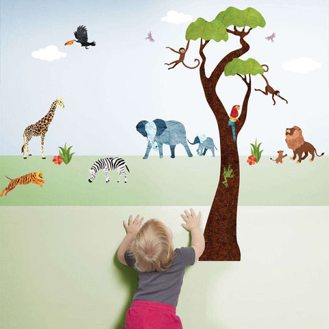 Jungle Safari Wall Decals – Peel & Stick Tree Sticker and Jungle Animal Decals