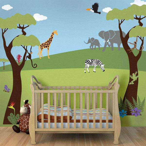 Jungle safari theme stencil kit for painting a wall mural for Baby jungle safari wall mural