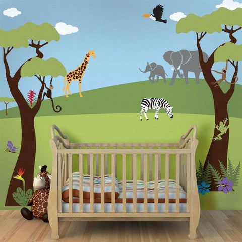 Jungle Safari Theme Stencil Kit For Painting A Wall Mural Part 62