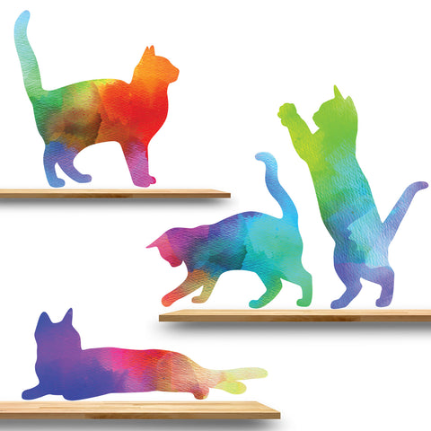 Cat Decals in Watercolor Pattern
