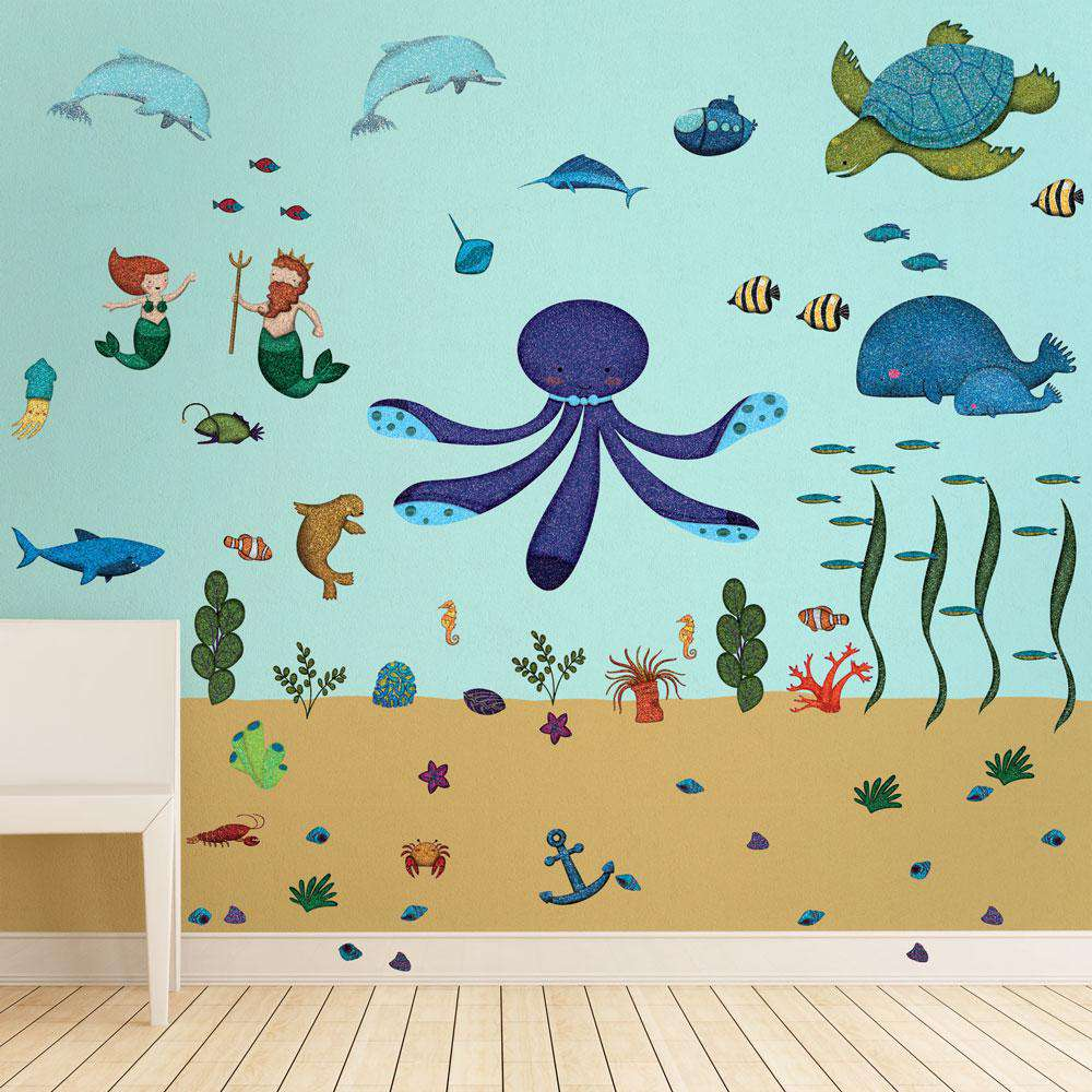 Aquatic nautical and under the sea stencils stickers and coordinatin under the sea wall decal sticker kit jumbo set amipublicfo Images