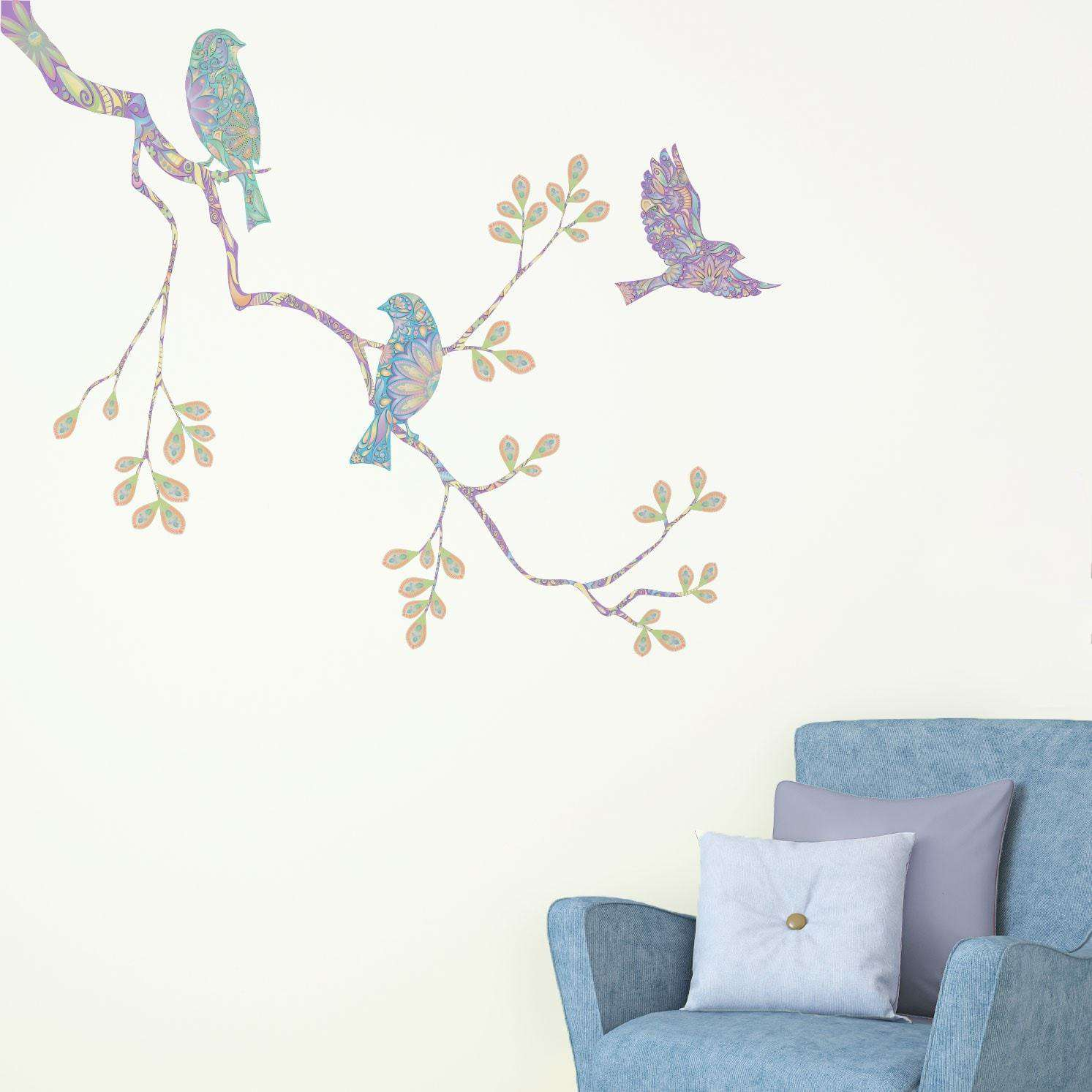 Pastel Birds and Tree Branch Wall Decal