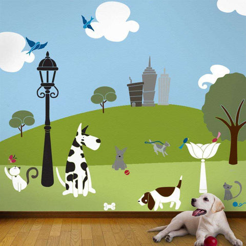 dogs and cats mural