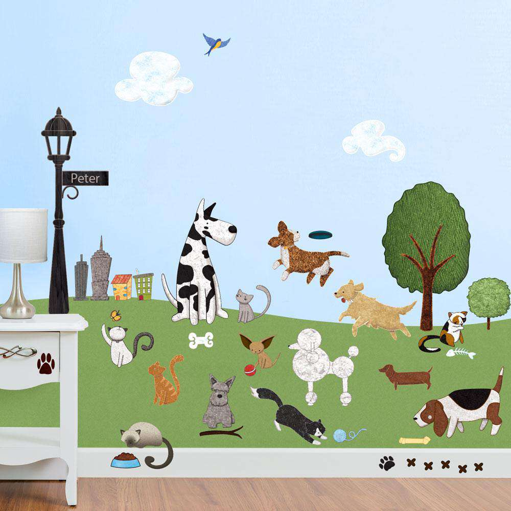 Dog and Cat Wall Stickers - City Park Theme Wall Decals
