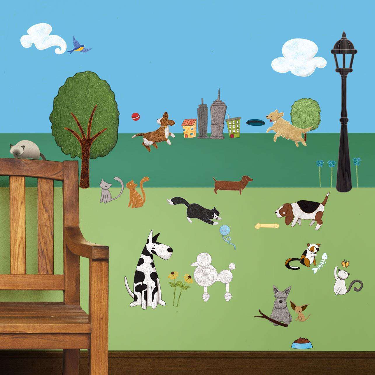dog and cat wall stickers city park theme wall decals cat and dog city park wall decal sticker kit mini set