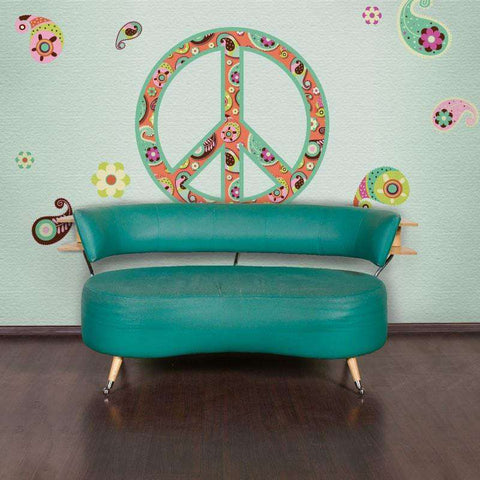 Paisley Peace Sign Wall Sticker Kit