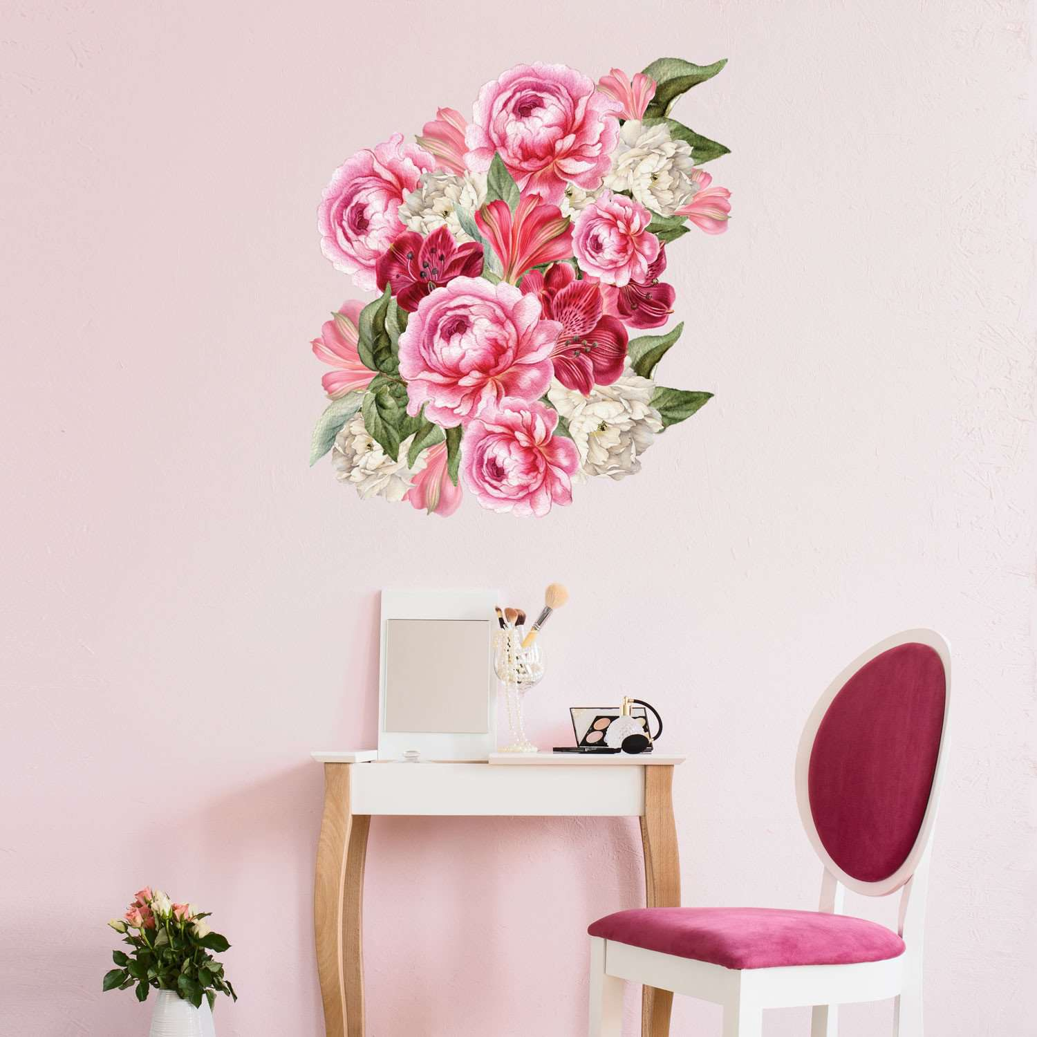 Pink Peony Decal Set Pink Peonies Floral Wall Stickers