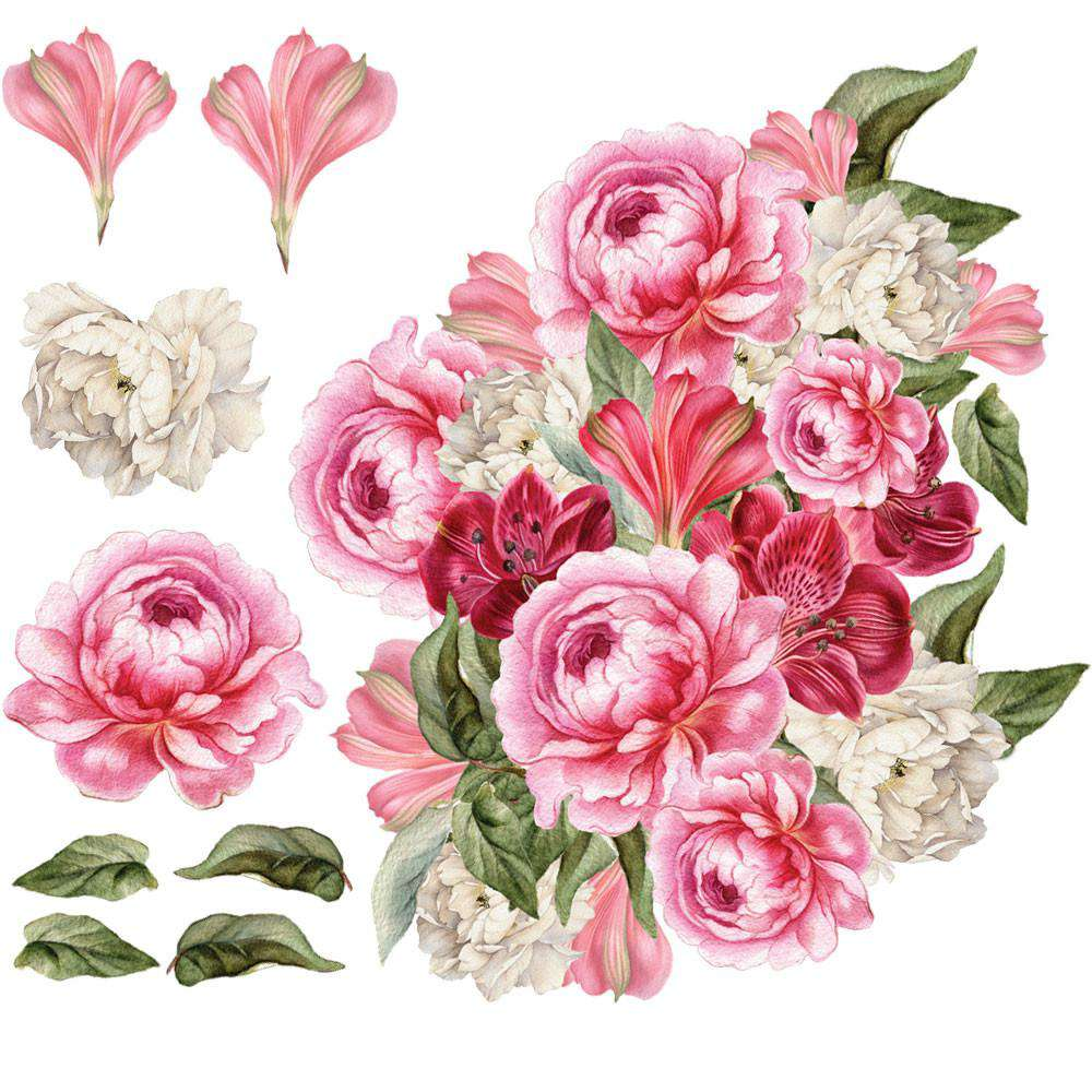 Pink peony decal set pink peonies floral wall stickers pink peony flowers wall decal set madilyns peonies mightylinksfo