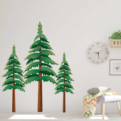 Pine Tree Wall Decals - Set of 3