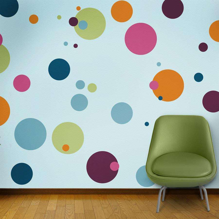 Wall mural stencil kits my wonderful walls polka dot stencils circle wall stencils amipublicfo Images