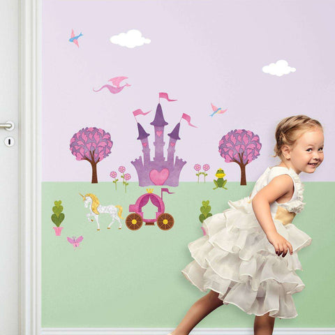 Princess Wall Sticker – Peel & Stick Decals for Princess Wall Mural with Large Princess Castle for Girls Room