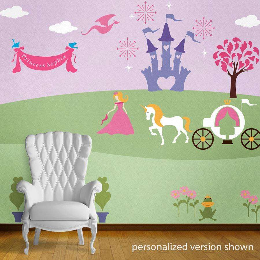 Wall mural stencil kits my wonderful walls perfectly princess bedroom wall mural stencil kit amipublicfo Images