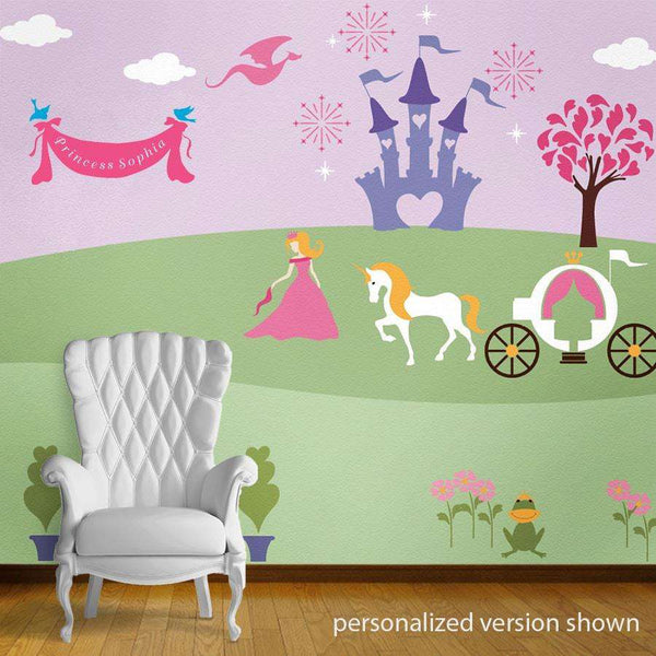 Princess bedroom wall mural stencils for girls room for Bedroom mural painting