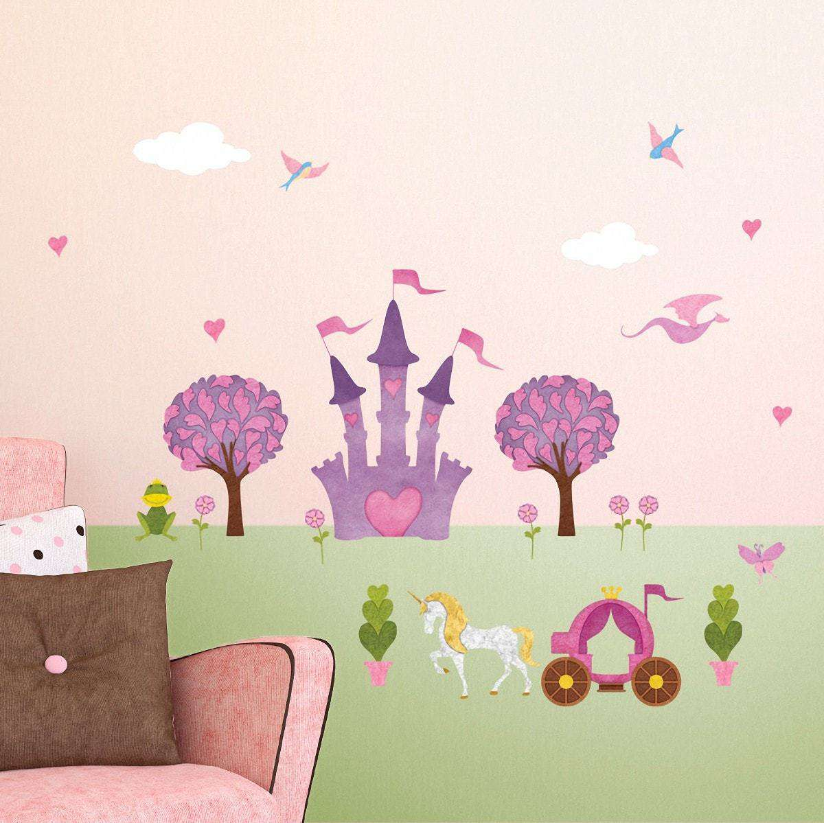 Princess wall stickers peel stick decals for princess wall princess wall sticker peel stick decals for princess wall mural with large princess castle amipublicfo Gallery