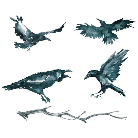 Raven Halloween Decals - Set of 4 Watercolor Ravens and Tree Branch
