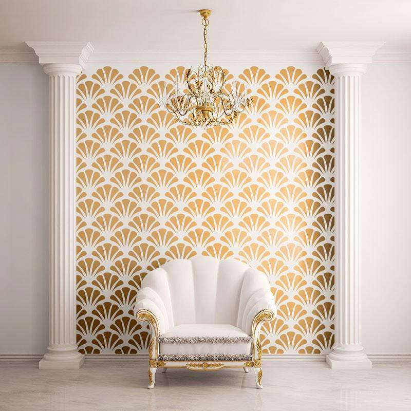 Scallop Shell Pattern Wall Stencil Self Adhesive