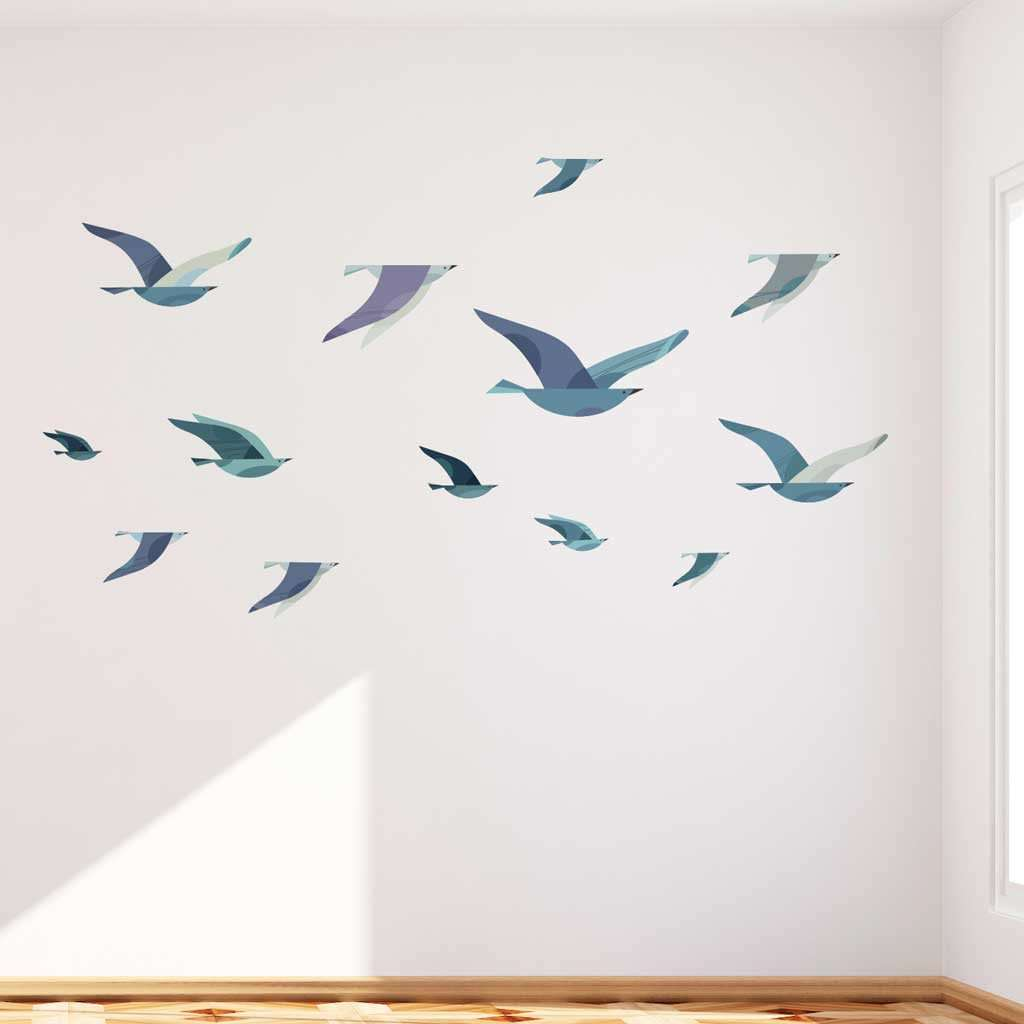 Aquatic and nautical stencils stickers and coordinating home flock of sea birds wall decals amipublicfo Gallery