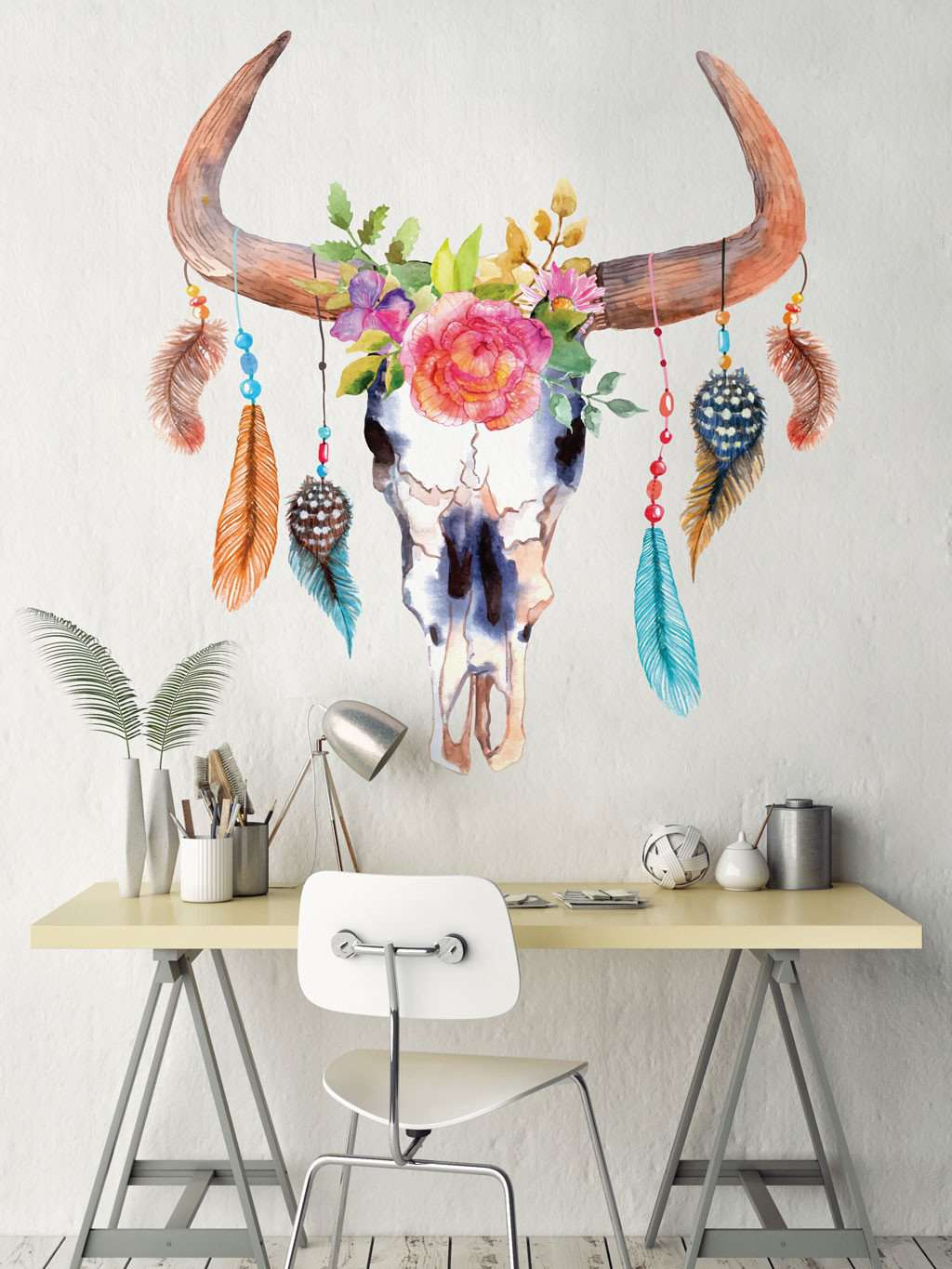 Urban wall stickers trendy wall stickers decals bull cow skull dreamcatcher decal with flowers and feathers gumiabroncs Image collections